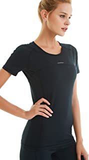 Femmes 3//4 Manches de Compression Shirt T-shirt Sports Fonction Shirt Gym Fitness Tops