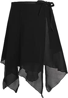 Agoky Damen Ballett Rock Chiffon Wickelrock Unregelmäßig Skater Rock Tanz Sport Gymnastik Mini Skirt Tanzrock Bekleidung in Rosa Weiß rot schwarz