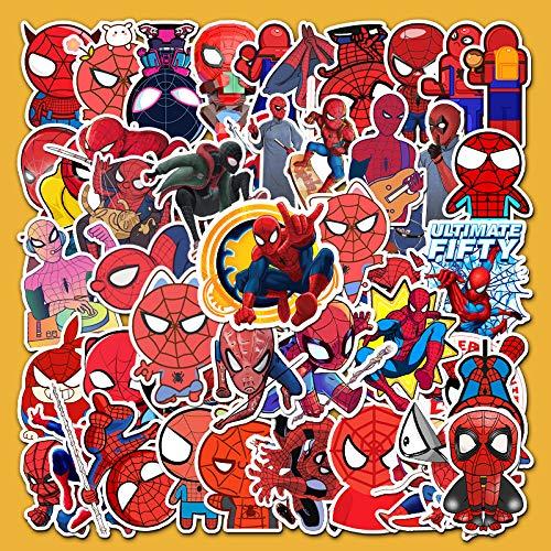 ZWANG Dibujos Animados Spiderman portátil teléfono Tableta monopatín Maleta Marca Marea Impermeable Manual Pegatina 57 Hojas