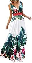 Moda Mujer Verano Escote en V Sin Mangas Fuera del Hombro Cintura Cintura Estampado Bohemio Vestido Largo Fiesta en la Playa Falda Larga con Encanto