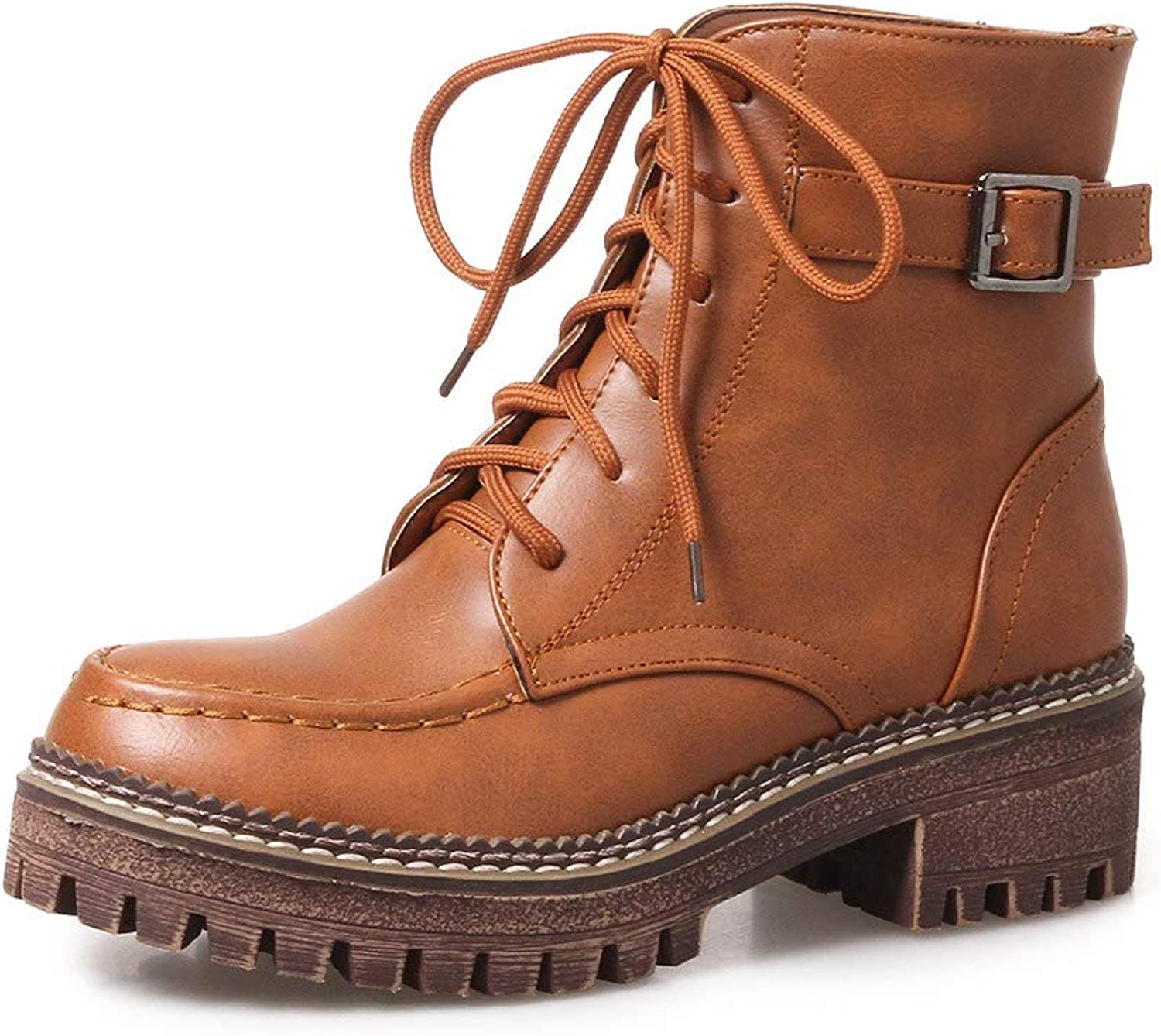 Martin Boots Womens Leather Boots Classic Ankle Boots Ladies Lace Up shoes for Fall Winter 2018 New