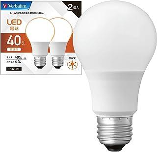 Verbatim バーベイタム LED電球 2個セット E26 40W形相当 電球色 (広配光/定格寿命40000時間/密閉器具対応) LDA4L-G/LCV3X2