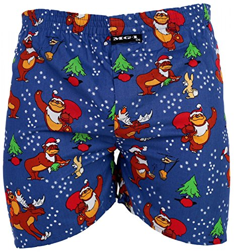 MG-1 Kinder Jungen Webboxer Boxershorts X-Mas Weihnachten Nikolaus Santa, Grösse:164, Präzise Farbe:Design 3