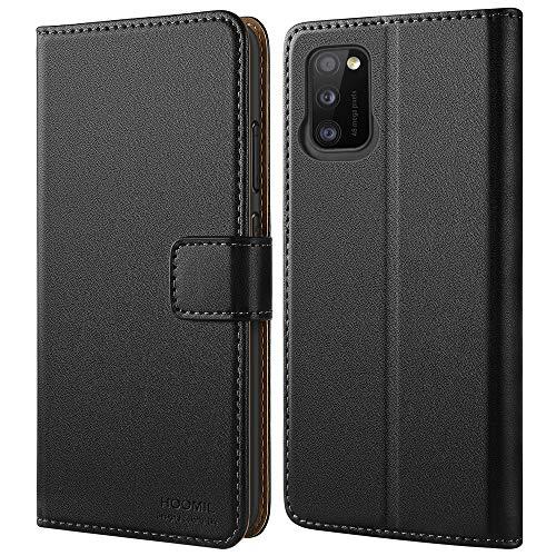 HOOMIL Handyhülle für Samsung Galaxy A41 Hülle, Premium PU Leder Flip Case Schutzhülle für Samsung Galaxy A41 Tasche, Schwarz