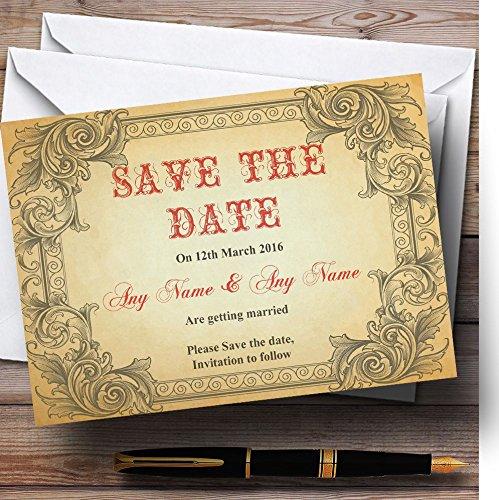De datumkaarten opslaan Typografie Vintage Rode ansichtkaart Gepersonaliseerd met enveloppen - Elke aangepaste tekst voor elke gelegenheid 100 Cards & Envelopes