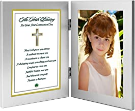 Poetry Gifts 1st Communion Gift - Irish Blessing in Double Frame for Girl or Boy - Add Photo