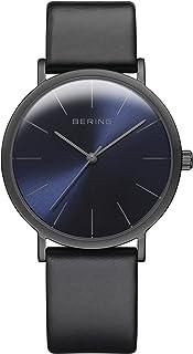 BERING Dames analoog kwarts horloge met lederen armband 13436-427, Zwart