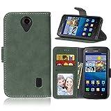 Funda Huawei Ascend Y635,Bookstyle 3 Card Slot PU Cuero Cartera para TPU Silicone Case Cover(Verde)