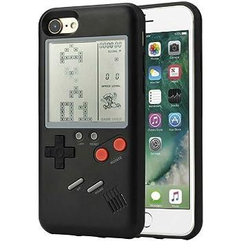 earth reborn ゲームボーイ 風 iPhone ケース 実際に遊べるレトロゲームを多数内蔵 テトリス バトルシティー シューティング フロッガー インベーダー ビデオゲーム 液晶 ドットゲーム レトロ スマホケース スマートフォン(iphone8plus/7plus, ブラック)