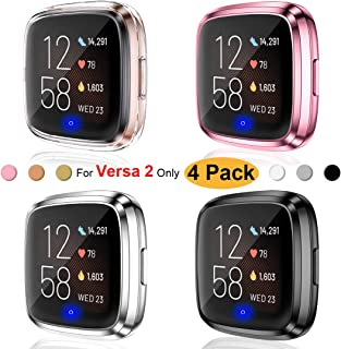 Ouwegaga Compatible for Fitbit Versa 2 Case,Screen Protector Case for Fitbit Versa 2 Smartwatch Bands 4 Pack Clear Rose Pink Silver Black