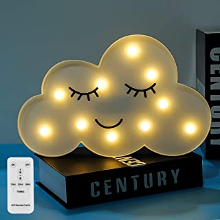 LED Cloud Night Lights Lamps Emoji Face Marquee Light Signs Timer&Remote Control Timer&Dimmable Table Lamp Toy Gifts for Girls Kids Bedroom Kidsroom Home Decor for Birthday Xmas Party(White Cloud)