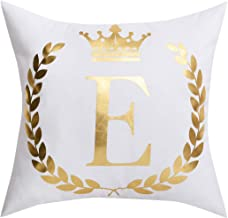 BLEUM CADE Throw Pillow Cover Bronzing E Letter Cushion Case Decorative Pillowcase for Home Sofa Bed Car (White and Golden, 18 × 18 Inch)
