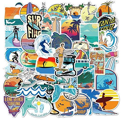 YZFCL Verano Playa Surf Pegatina Bonita estética Bullet Diario Equipaje teléfono Trolley Caso Scrapbooking Impermeable Coche Pegatina 50 Uds