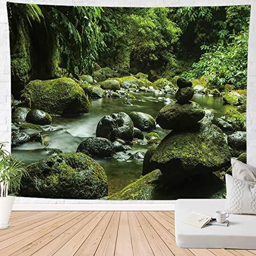 ANAZOZ Tapiz Tela Poliéster Tapices de Pared Etnicos Paisaje de Natural Verde Style 29 Tapiz 150x200CM