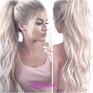 Zenith Dark Brown Rooted Light Blonde Lace Front Wigs for Women Best Synthetic Hair Wavy Wig with Flawless Hairline 22 inches Heat Safe (Platinum Blonde)