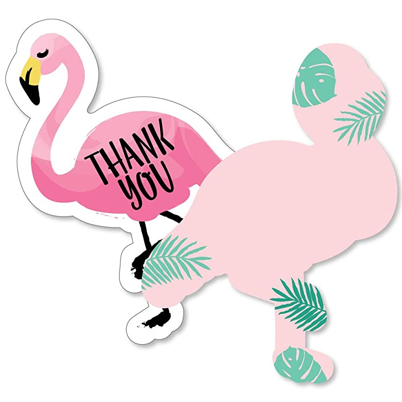 Pink Flamingo - Shaped Thank You Cards - Tropical Summer Party Thank You Note Cards with Envelopes - Set of 12