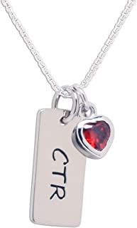 Girl's Sterling Silver CTR Bar Necklace with Simulated Birthstone Heart Charm