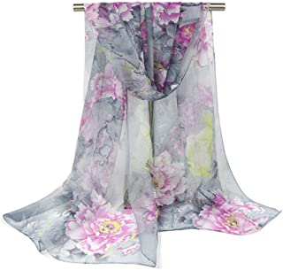Bullidea 1 Pc Silk Scarf Women's Floral Printing Decoration Chiffon Scarf Beach Ultra-thin Shawl Wrap for Women Girls Sun ...