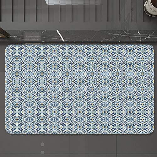 Alfombrilla de Baño Antideslizantes de 50X80 cm,Azulejo Azulejo Portugués étnico Floral Euro, Tapete para el Piso Lavable a Máquina con Microfibras Suaves Absorbentes de Agua para Bañera, Ducha y Baño