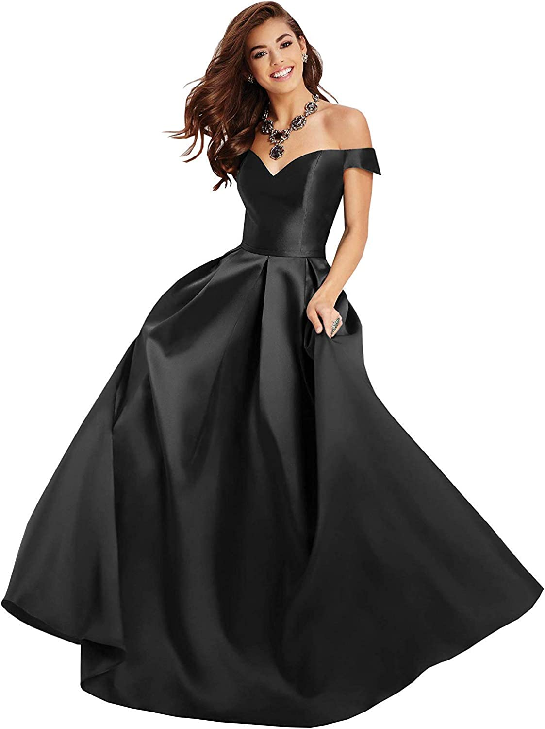 Clothfun Off Shoulder Prom Dresses Long 2021 Formal Dresses for Women Evening Gowns Satin A-Line with Pockets