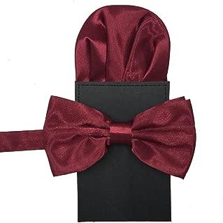 Mens Tuxedo Fashion Pre-tied Bow tie Pocket Square Hankerchief Matching Set (Pure Burgundy)