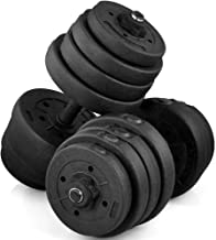 Yaheetech 30KG Dumbbell Free-Weights Dumbells Set Gym Bench Barbell Bicep Workout Lifting ,Set of 2