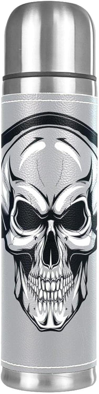Taza térmica de piel con diseño de calavera con auriculares Fanart, ideal para la oficina, botella de agua de acero inoxidable con aislamiento al vacío, termo de deporte, taza de viaje