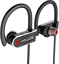 Bluetooth Headphones,HBUDS Waterproof IPX7 Wireless Sports Earbuds,Deep Bass HiFi Stereo In-Ear Earphones Built-in Mic, 8-9 Hrs Playtime Noise Canceling Headsets Black (Memory Ear Tips & Fast Pairing)