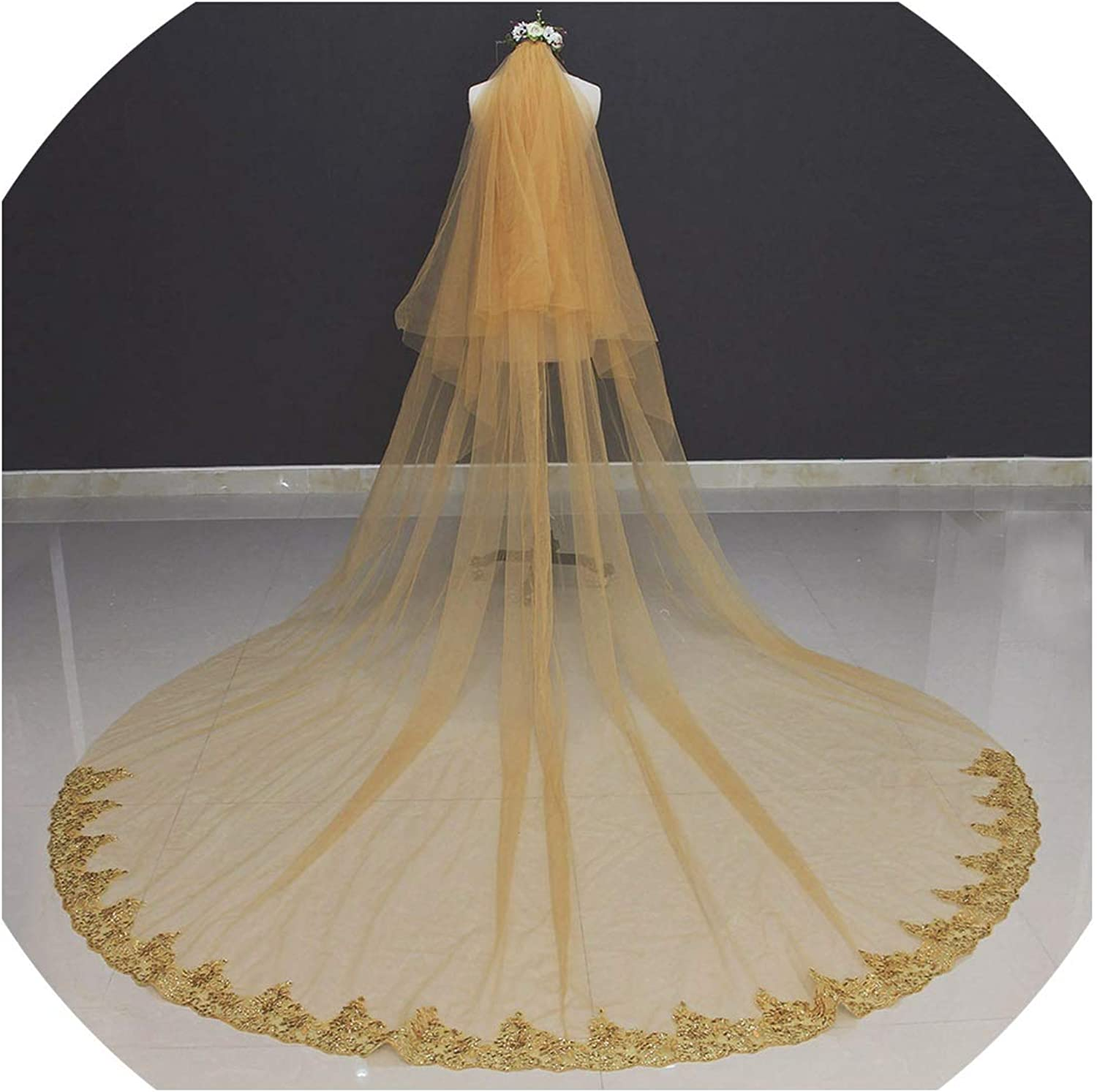 2 Tiers Long Wedding Veil with Comb 3 M Beautiful Cover Face Bridal Veil,GREEN,300cm