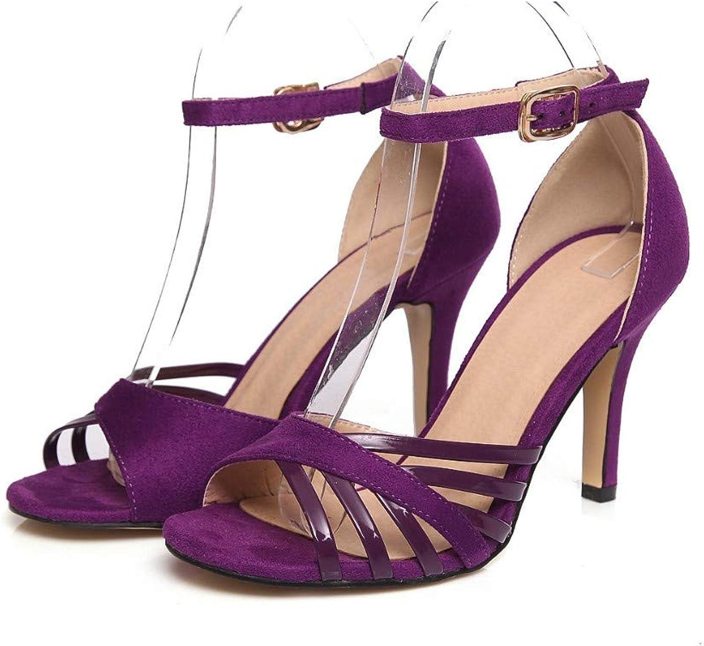 HmDco HmDco HmDco Frauen Peep Toe Sandalen Schnalle Schuhe mit High Heels, lila  ea8eea