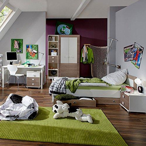 8tlg Kinderzimmer Montana Eiche weiß Kleiderschrank Jugendbett & Nachttisch