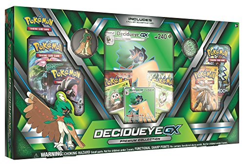 Pokemon TCG: Sun & Moon Guardians Rising Decidueye-GX Premium Collection Box | Features Exclusive Decidueye-GX Foil, Oversized Holofoil, Collectors Pin, Metallic Coin Plus 6 Booster Packs & More!