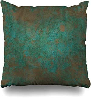 Ahawoso Throw Pillow Cover Brown Turquoise Brass Copper Bronze Hard Green Patina Empty Place Orange Aged Rust Gold Design Iron Home Decor Pillowcase Square Size 18
