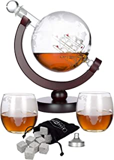 Atterstone Globe Whiskey Decanter Set, 850-ml Liquor Decanter Gift Set with Globe Glasses, 9 Whiskey Stones and Stainless Steel Funnel