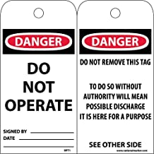 National Marker Corp. RPT1ST250 Tags, Danger Do Not Operate, 6 Inch X 3 Inch, Polytag, Box Of 250