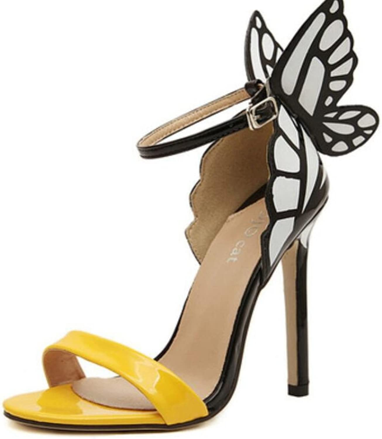 LINYI Womens Ladies Stiletto Heels Dreamy colorful Butterfly High Heel Sandals