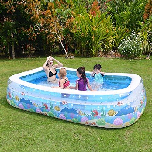 Baignoires Jacuzzis et balnéothérapie Piscine gonflable PVC rectangulaire ménage paddle piscine bleu transparent 180 * 140 * 60CM (Color : Transparent, Size : 180 * 140 * 60CM)