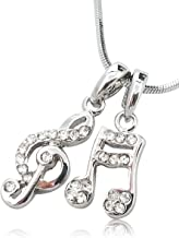 Glamour Girl Gifts Petite Crystal Embellished Silver Tone Small Musical Music Note and Treble Clef Necklace