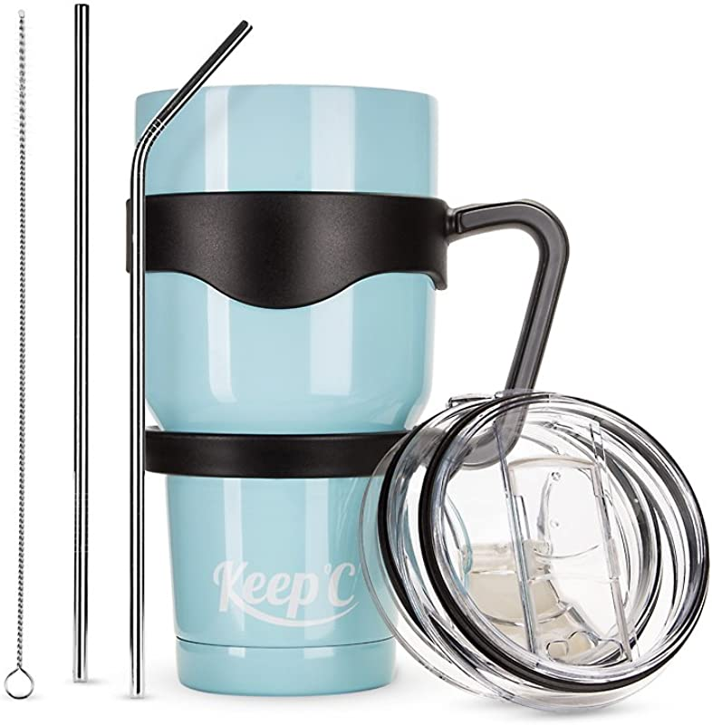 KEEPOC Coffee Mugs 30 Oz Double Lined Tumbler Stainless Steel Multinational Travel Mug Huge Size Water Cup For Hot And Cold Beverage With Metal Straws Straw Scrubber And 2 Lids Blue
