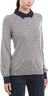Women's Bahiti Woven Trim Wool & Cashmere Sweater in Heather Grey, Small