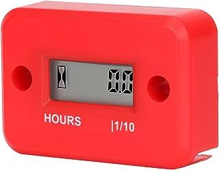 Aimila Digital Engine Hour Meter Inductive LCD Waterproof Hourmeter for Motorcycle (Red)