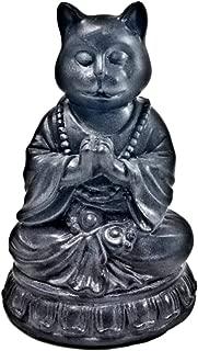 Bellaa 29615 Cat Statue Yoga Zen Pose Dhyana Mudra Buddha 6 inch