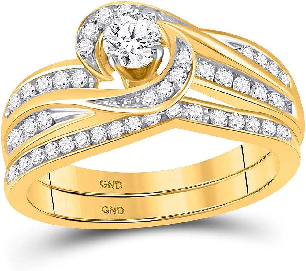 10k Yellow Gold Round Diamond Swirl Bridal Wedding Ring Band Set 1/2 Cttw