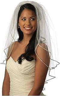 Two Tier Sparkling Rhinestone Edged Mid Wedding Bridal Veil 07