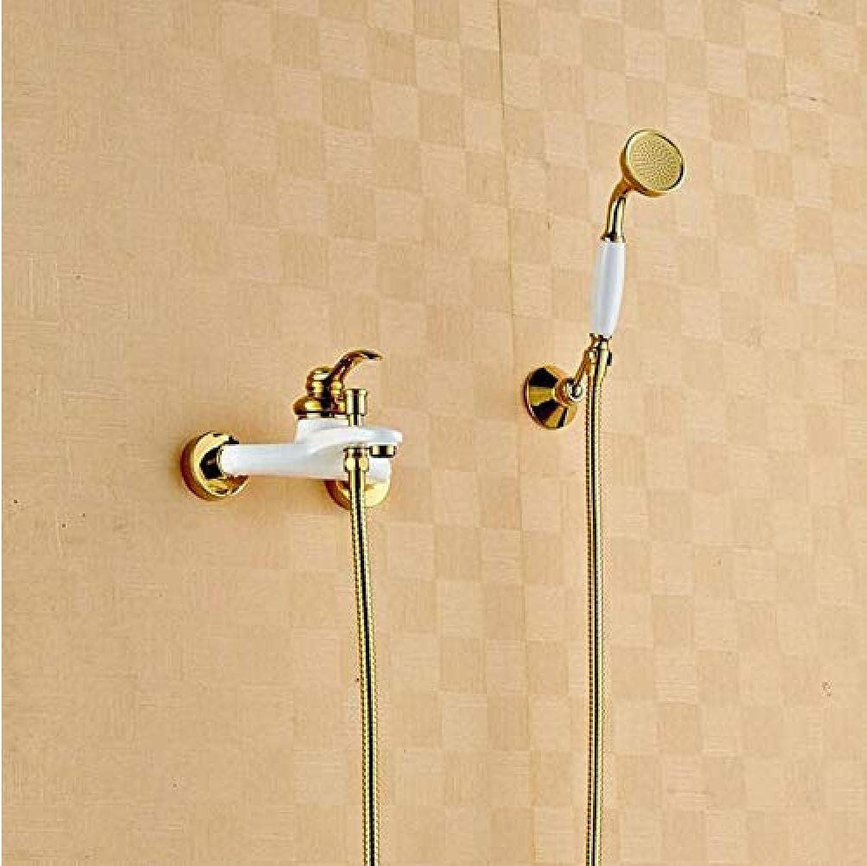 Mazhant Gebackene Weie Badezimmer Einhand-Wand Badewanne Duschset Wasserhahn Wasserhahn Bad Dusche