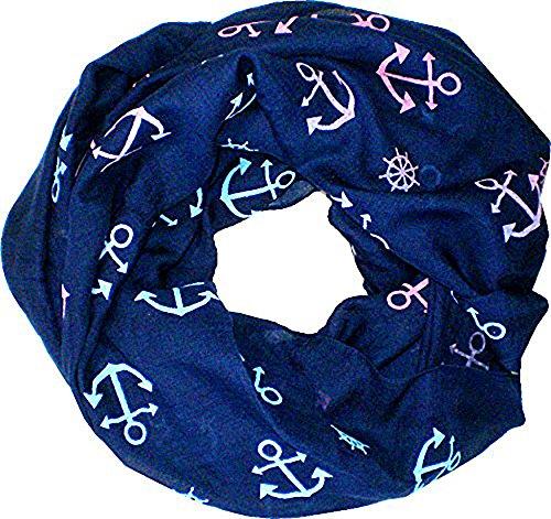 Evil Wear Homme Femme Loop Écharpe écharpe bleu Tuyau écharpes écharpe ronde (Ancre xl2 C) 4722
