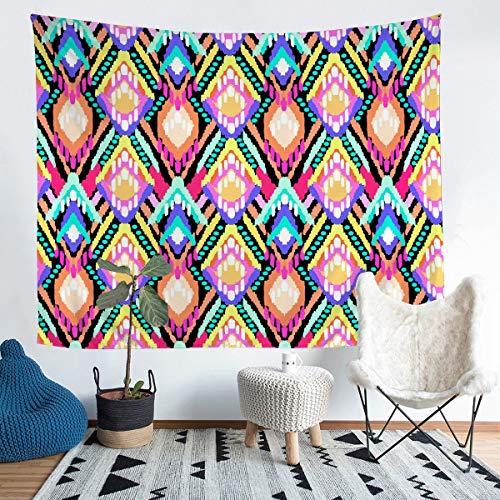 Boho Tie Dye - Tapiz bohemio para colgar en la pared, diseño de geometría de diamantes coloridos, manta de pared para niños y niñas y mujeres, multicolor
