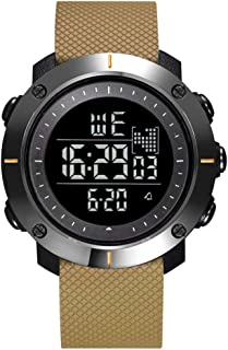 MJZJP 腕時計 メンズ 時計 防水 多機能ウォッチ LEDライト ラグジュアリー おしゃれ ビジネス カジュアル 男性腕時計 (Color : 褐色)