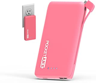 Tzumi PocketJuice Endurance AC - Mini Portable Device Battery Pack Charger - 4,000 mAh High-Speed USB Port with Built in MicroUSB Cable - Compatible with iPhone & Android (Pink)