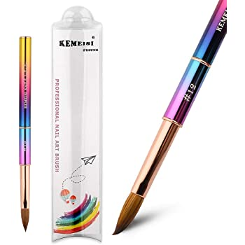 KEMEISI 1PC UV Color Ramp Sable Acrylic Nail Pen 100% Kolinsky Nail Brush for Nail Art Manicure Powder Pedicure with lid #8,#10,#12,#16 (#12)